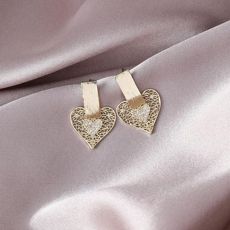 Fashion short micro-inlaid zircon hollow love earrings new earrings for girls NHMS180218's discount tags