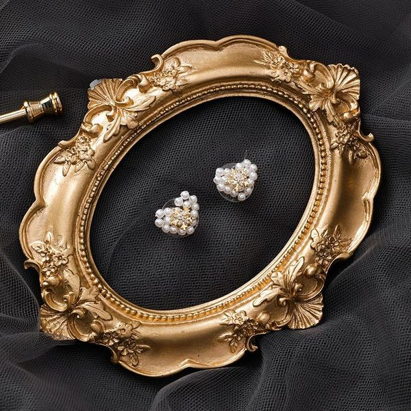 925 silver handmade pearl love earrings compact mini snowflake earrings for girls earrings NHMS180219