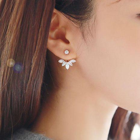 Silver horse eye zircon daisy flower earrings drop-shaped earrings NHCU180240's discount tags