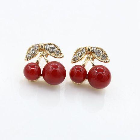 Cute student earrings with diamonds leaves red cherry earrings fruit earrings jewelry NHCU180255's discount tags