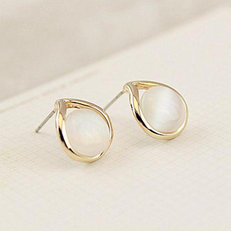Drop ear studs inlaid opal stud earrings female anti-allergic ear accessories NHCU180259's discount tags