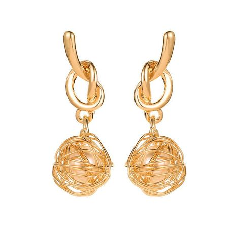 Trend earrings earrings bow earrings knotted winding hollow pearl earrings wholesale NHCU180270's discount tags