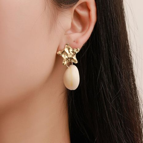 Explosion earrings starfish shell conch earrings women simple five-pointed star stud earrings NHCU180272's discount tags