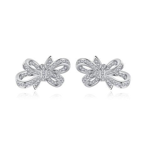 Stud Earrings Fashion Sweet Creative Bow Women's Copper Zirconium Earrings Gift NHTM180428's discount tags