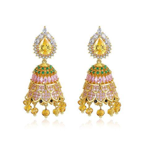 Stud Earrings Vintage Pop Style Bell Women's Cubic Zircon Earrings Gift NHTM180437's discount tags