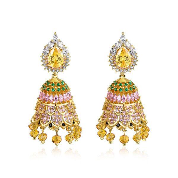 Stud Earrings Vintage Pop Style Bell Women's Cubic Zircon Earrings Gift NHTM180437