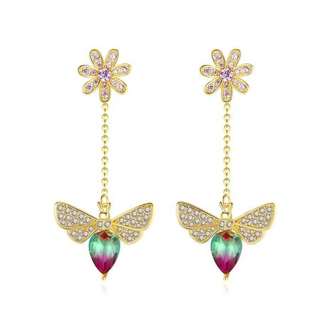 Stud earrings new fashion sweet long bee pendant female earrings wholesalesale NHTM180440's discount tags