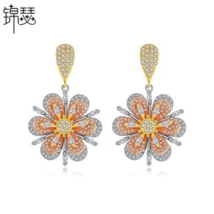 Stud earrings simple new copper inlaid zircon ladies pendant earrings sweet banquet earrings NHTM180443's discount tags