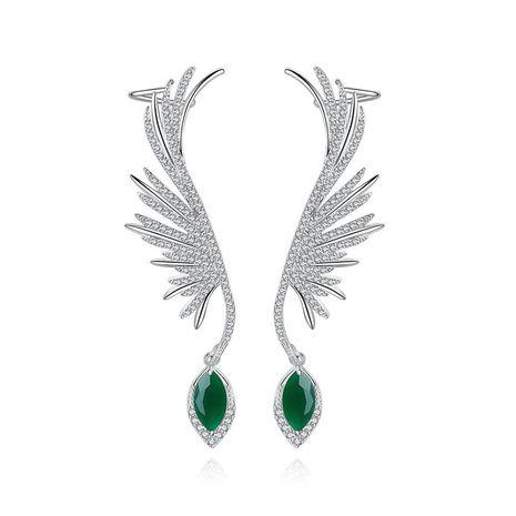 Stud Earrings Vintage Female Cubic Zirconium Feather Ear Clips Stud Earrings Party Earrings NHTM180444's discount tags