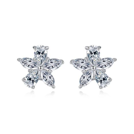 Stud Earrings Fashion Simple New Flower Earrings Sweet Lady Copper Zirconium Earrings NHTM180447's discount tags