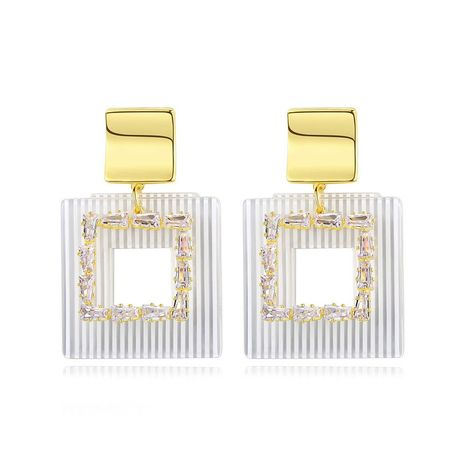 Stud earrings fashion temperament square ladies banquet copper inlaid zirconium earrings wholesale NHTM180464's discount tags