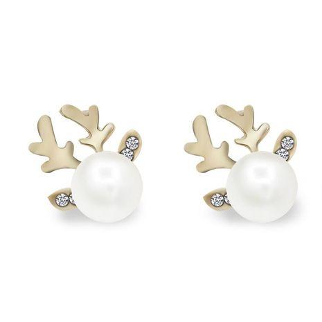 Fashion micro-set pearl antlers earrings simple deer head elegant earrings deer earrings NHDP180308's discount tags