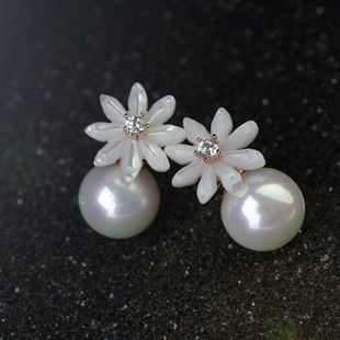 Fashion delicate shell flower pearl stud earrings girls earrings NHLJ180408's discount tags
