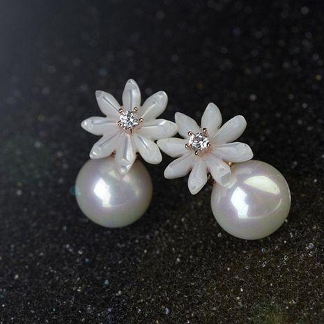 Fashion delicate shell flower pearl stud earrings girls earrings NHLJ180408's discount tags