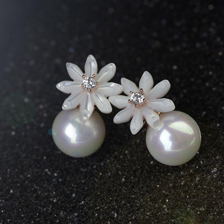 Fashion delicate shell flower pearl stud earrings girls earrings NHLJ180408