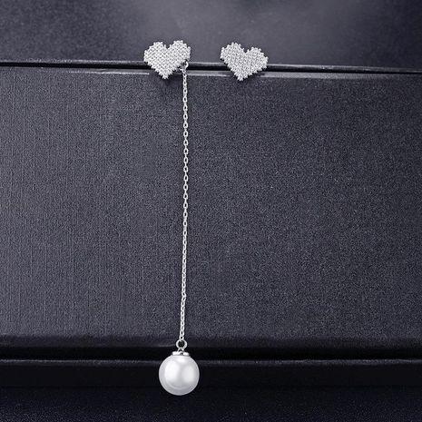 New micro-inlaid AAA zircon heart-shaped asymmetric pearl earrings long earrings NHLJ180414's discount tags