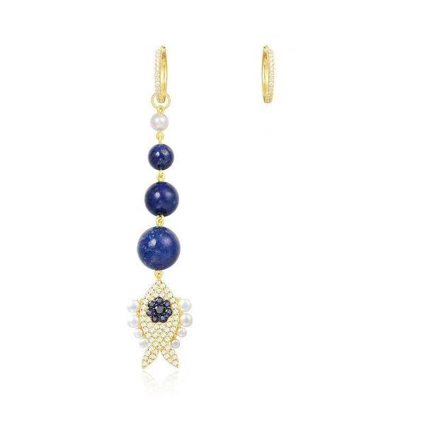 New lucky green gold turquoise fish earrings asymmetric earrings long earrings for girls NHLJ180398