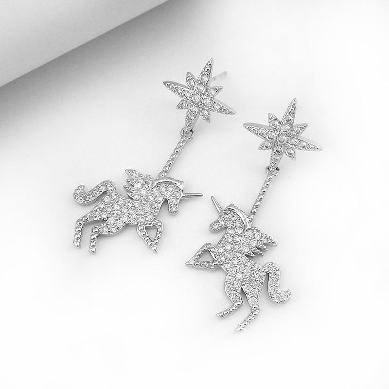 New asymmetric pony eightpointed star earrings unicorn earrings NHLJ180411