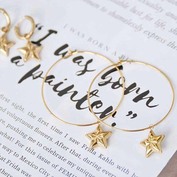 Earrings new gold-plated five-pointed star earrings trend earrings female NHOT179830