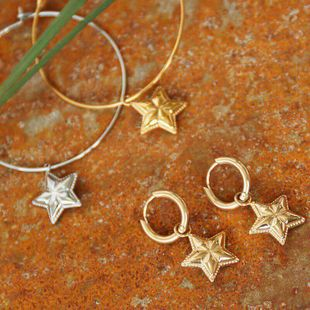 Earrings new gold-plated five-pointed star earrings trend earrings female NHOT179831's discount tags