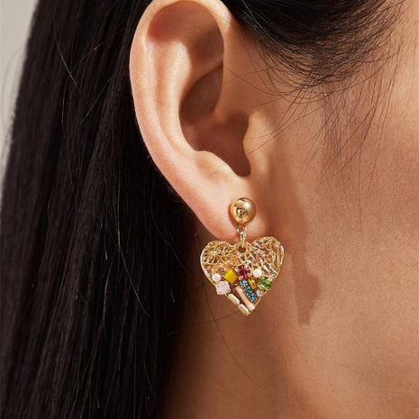 Peach heart earrings explosion rhinestone earrings color love exaggerated earrings hypoallergenic jewelry NHKQ180321's discount tags