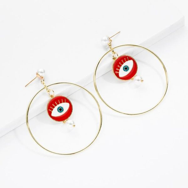 Earrings new gold-plated pearl geometric earrings fashion big circle earrings for women NHOT180493