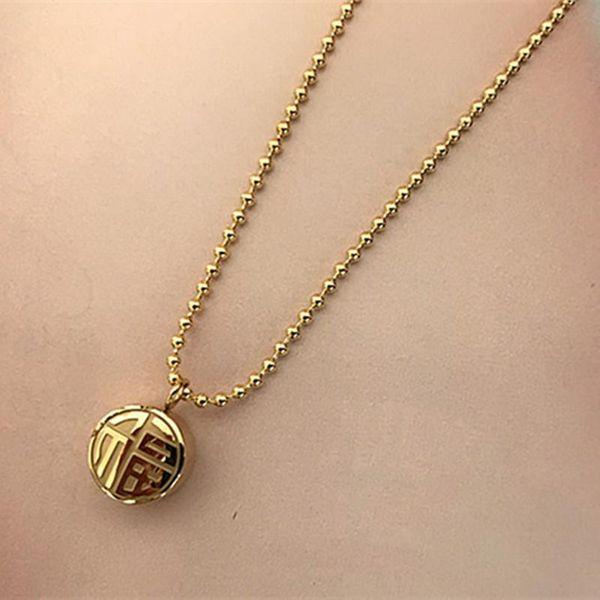 Vintage texture titanium steel 18K necklace women wholesales fashion NHIM180376