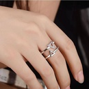 Triangle crystal micro inlay doublelayer open ring simple versatile jewelry fashion ring NHIM180384