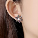 Stud earrings fashion new snowflake pearl ladies copper inlaid zirconium earrings gift wholesale NHTM180453