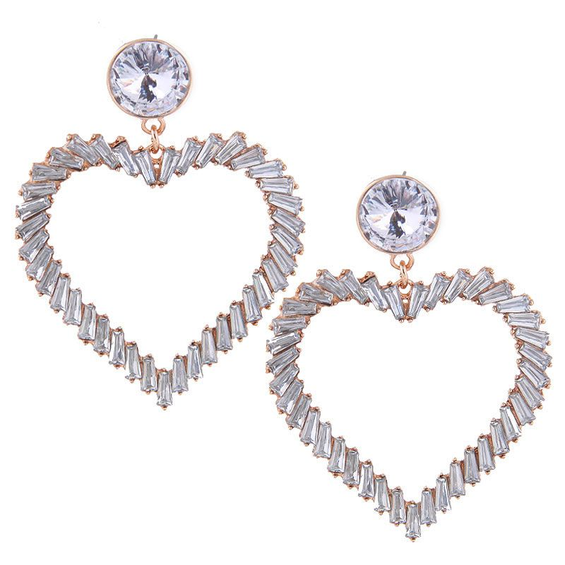European and American fashion metal  love exaggerated temperament earrings NHSC180678