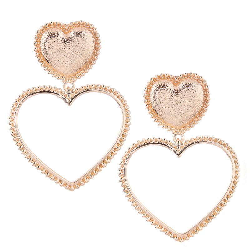 European and American fashion metal simple heart temperament exaggerated personality earrings NHSC180684
