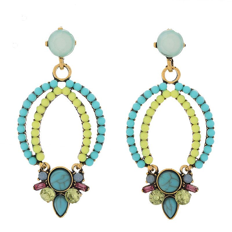 European and American fashion metal fluorescent color accessories simple temperament earrings NHSC180713