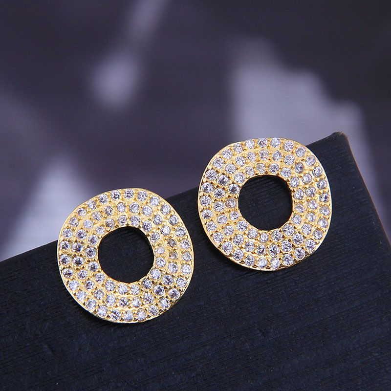 925 silver needle Korean fashion copper microinlaid zircon simple circle personalized earrings NHSC180737