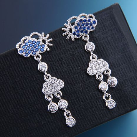 10658 exquisite 925 silver needle Korean fashion sweet copper micro inlaid zircon cloud earrings NHSC180747's discount tags