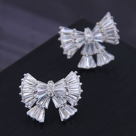 9859 exquisite 925 silver needle Korean fashion copper micro inlaid zircon big bow temperament earrings NHSC180745's discount tags