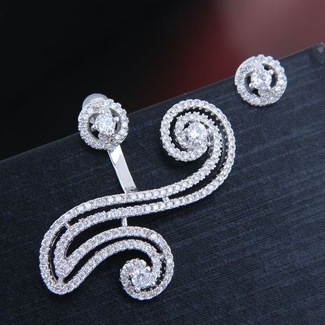 10046 exquisite Korean fashion female earrings copper micro-inlaid zircon personality asymmetric exaggerated female earrings NHSC180750's discount tags