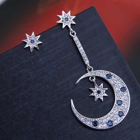 9982 exquisite 925 silver needle Korean fashion copper micro-inlaid zircon star and moon asymmetrical personality earrings NHSC180694's discount tags