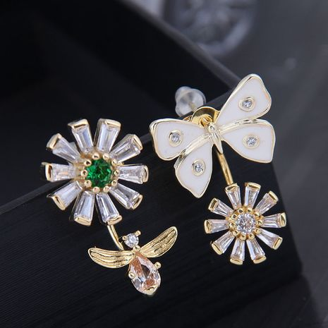 10648 exquisite 925 silver needle Korean fashion copper micro inlaid zircon flower butterfly dance asymmetric personality earrings NHSC180738's discount tags