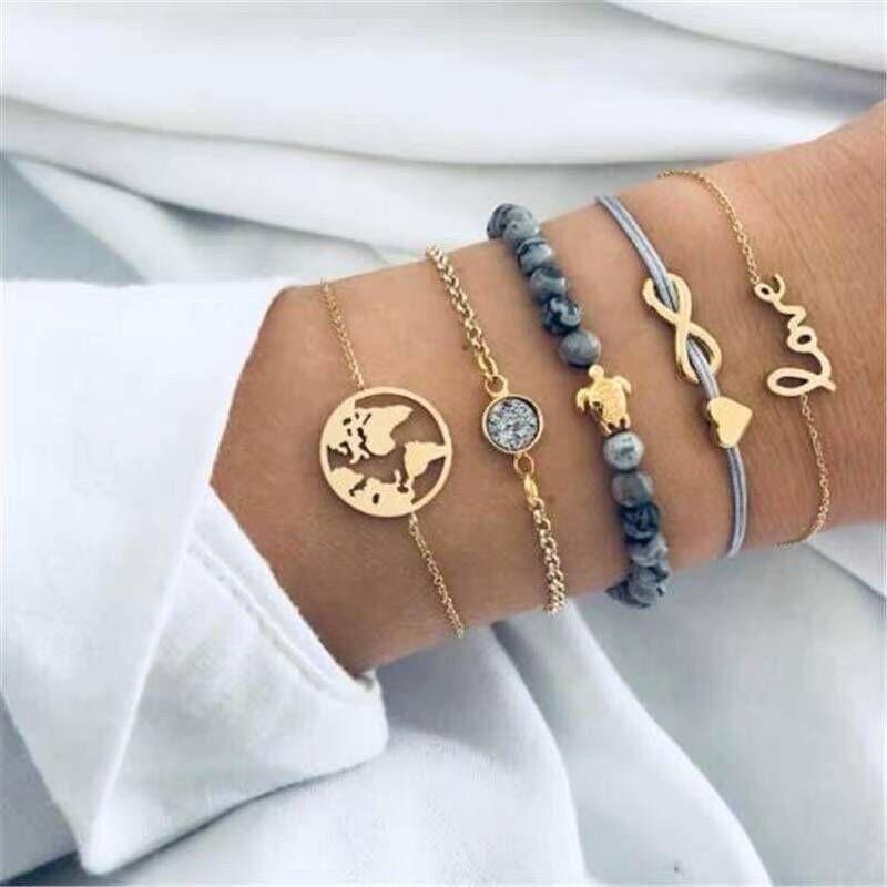 Europe and the United States trend versatile simple love accessories five-piece combination bracelet bracelet NHSC180704
