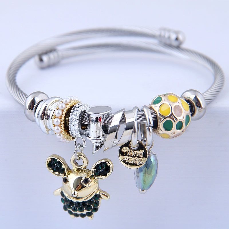 Europe and the United States fashion metal wild Pan DL flash diamond Elf mouse pendant multi-element accessories personalized bracelet NHSC180716