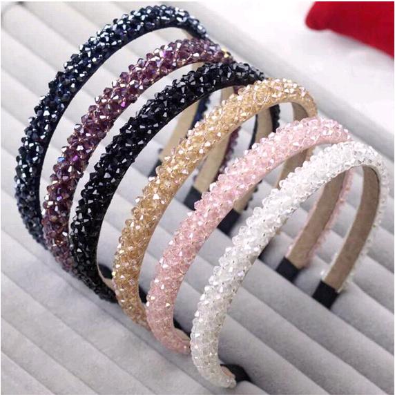 Korean luxury crystal temperament women's handmade beaded woven wide hair accessories headband NHSC180698