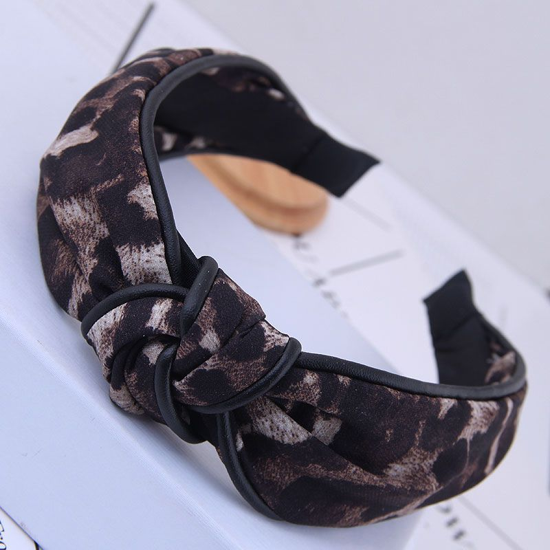 Korean style hair accessories Korean version of the wild leopard pattern simple middle knot knotted wide-brimmed headband headband head buckle ladies headband NHSC180755