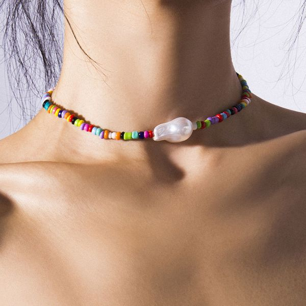 European and American fashion simple and delicate rice beads temperament short necklace NHSC180710