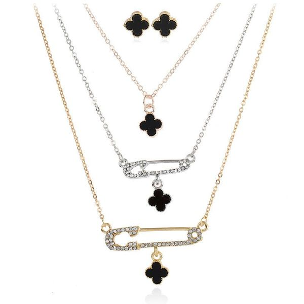 Earrings necklace set with diamond brooch buckle flower drop oil multi-layer necklace NHNZ180826