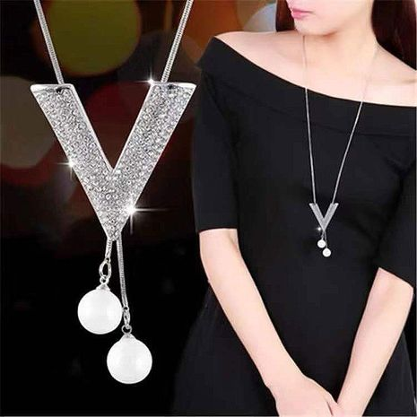 Exquisite Korean fashion metal flash diamond V character personality drop ear pearl long necklace / sweater chain NHSC180729's discount tags