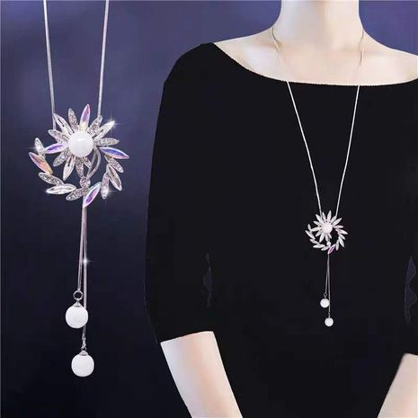 Exquisite Korean fashion metal shines 璀璨 flowers drops ear pearl long necklace / sweater chain NHSC180741's discount tags