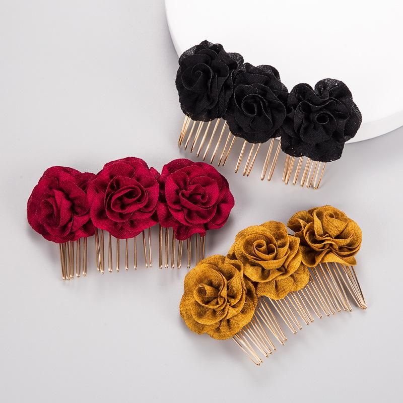 Rose hair comb bride hair accessories solid color headdress wholesale NHLN180662