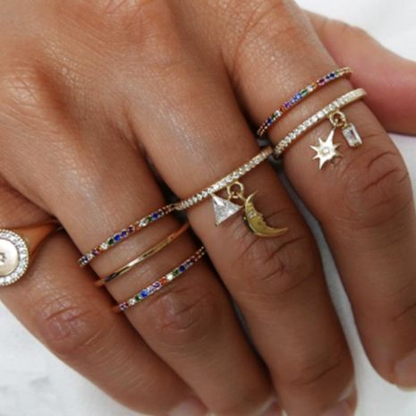 Vintage fashion geometric elements set with colored diamond rings sun moon set ring NHNZ180816's discount tags