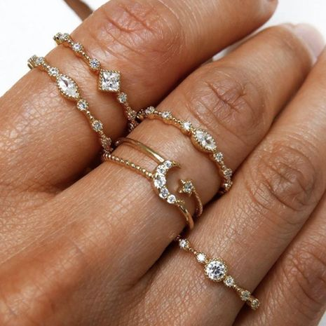 Fashion Retro Geometric Moon Diamond Ring Personality Joint Ring Female NHNZ180819's discount tags