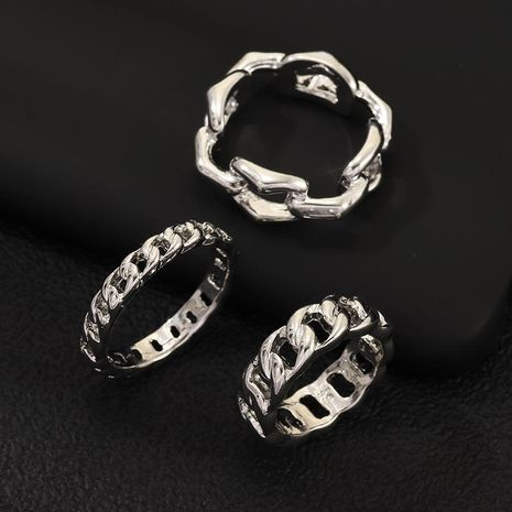 New retro punk style ring silver thick chain ring 3 piece set NHNZ180825's discount tags